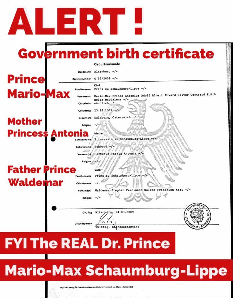 Prince Mario-Max Schaumburg-Lippe real prince? yes Mario-Max Prinz zu Schaumburg-Lippe also Prinz Mario-Max ein echter Prinz? ja