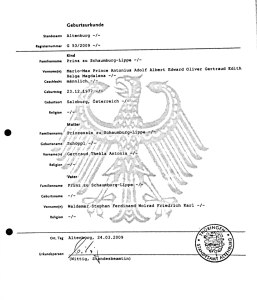 Prince Mario Max Schaumburg Lippe birth certificate Republic of Germany