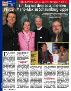 Prince Mario-Max zu Schaumburg-Lippe, Prince Waldemar zu Schaumburg-Lippe, and Dr. Gertraud-Antonia Wagner-Schöppl in a Jürgen Worlitz Story